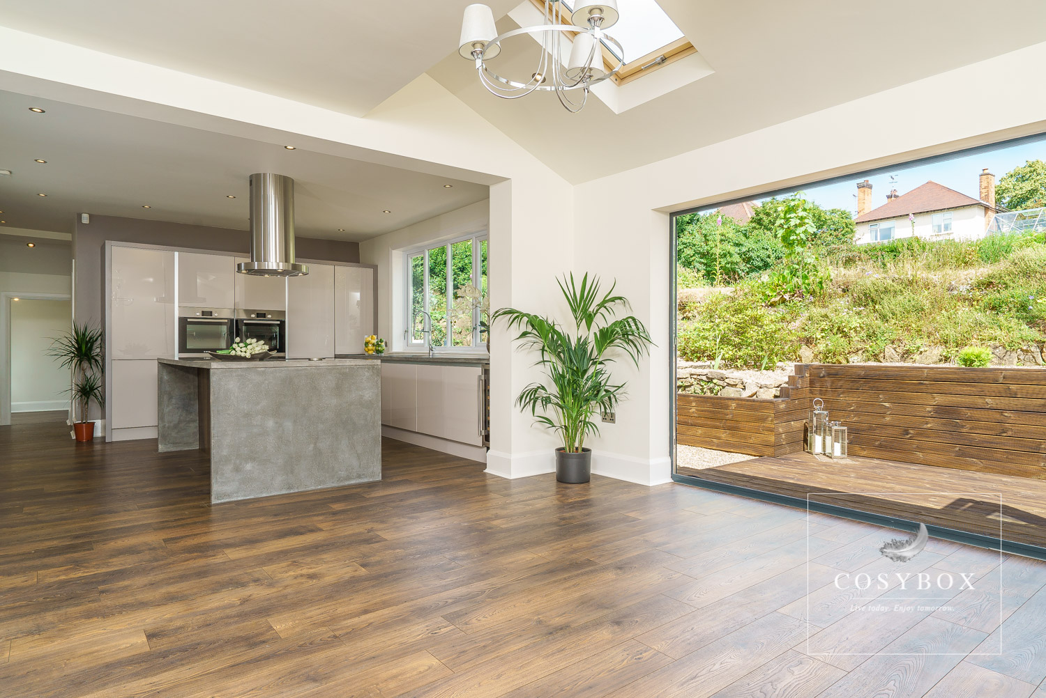 Kitchen and dining area with rear terrace